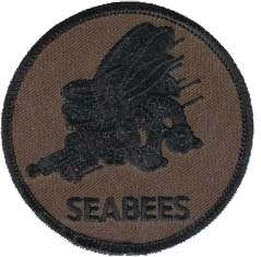 View Buying Options For The Seabees Subdued Emblem Round Iron-On Patch