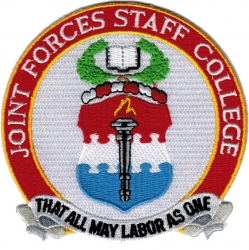 View Buying Options For The Joint Forces Staff College That All May Labor As One Iron-On Patch