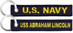 View Buying Options For The U.S. Navy USS Abraham Lincoln Key Ring Pull Tag Embroidered Keychain