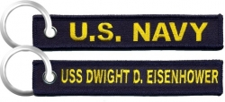View Buying Options For The U.S. Navy USS Dwight D. Eisenhower Key Ring Pull Tag Embroidered Keychain