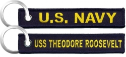 View Buying Options For The U.S. Navy USS Theodore Roosevelt Key Ring Pull Tag Embroidered Keychain