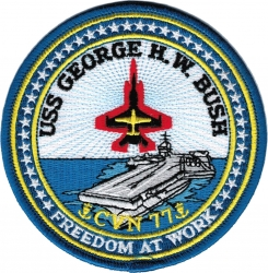 View Buying Options For The USS George H.W. Bush CVN-77 Freedom at Work Iron-On Patch