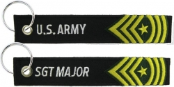 View Buying Options For The U.S. Army Sergeant Major Key Ring Pull Tag Embroidered Keychain
