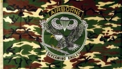 View Buying Options For The Airborne Screaming Eagles Camo Crest Large Flag