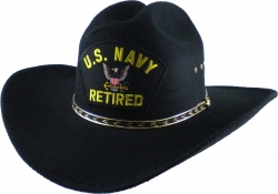 View Buying Options For The US Navy Retired Logo Patch Felt Cowboy Western Mens Hat