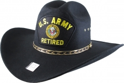 View Buying Options For The US Army Retired Logo Patch Felt Cowboy Western Mens Hat