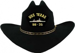 View Buying Options For The USS Texas BB-35 Patch Felt Cowboy Western Mens Hat