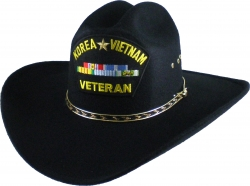 View Buying Options For The Korea & Vietnam War Veteran Ribbons Patch Felt Cowboy Western Mens Hat