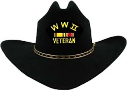 View Buying Options For The WWII Veteran with 2 Ribbons Patch Felt Cowboy Western Mens Hat
