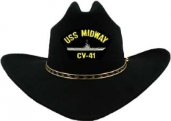 View Buying Options For The USS Midway CV-41 Patch Felt Cowboy Western Mens Hat