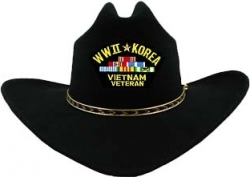 View Buying Options For The WWII & Korea & Vietnam War Veteran Patch Felt Cowboy Western Mens Hat