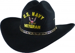 View Buying Options For The US Navy Veteran Logo Felt Cowboy Western Mens Hat