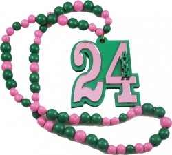 View Buying Options For The Alpha Kappa Alpha Line #24 Mirror Wood Color Bead Tiki Necklace