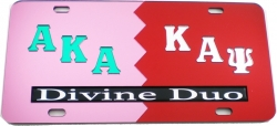 View Buying Options For The Alpha Kappa Alpha + Kappa Alpha Psi Divine Duo Split License Plate