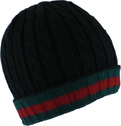 View Buying Options For The Chunky Rib Cable Knit Red & Green Stripe Mens Ski Beanie Cap