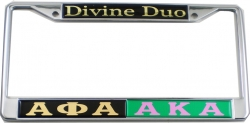 View Buying Options For The Alpha Phi Alpha + Alpha Kappa Alpha Divine Duo Split License Plate Frame
