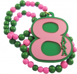 View Buying Options For The Alpha Kappa Alpha Line #8 Mirror Wood Color Bead Tiki Necklace