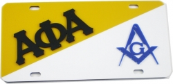 View Buying Options For The Alpha Phi Alpha + Mason Blue House Split License Plate