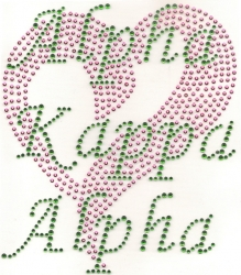 View Buying Options For The Alpha Kappa Alpha Sequin Heart Rhinestone Letter Heat Transfer