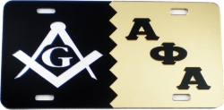 View Buying Options For The Mason + Alpha Phi Alpha Split Mirror License Plate