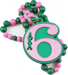 View Buying Options For The Alpha Kappa Alpha Line #6 Mirror Wood Color Bead Tiki Necklace
