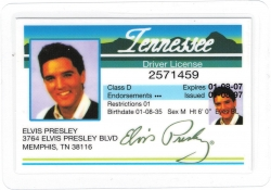View Buying Options For The Elvis Presley Souvenir Tennessee Drivers License