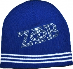 View Buying Options For The Zeta Phi Beta Rhinestone Striped Divine 9 S5 Ladies Beanie Cap