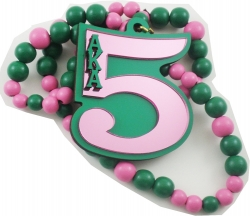 View Buying Options For The Alpha Kappa Alpha Line Number 05 Mirror Wood Color Bead Tiki Necklace