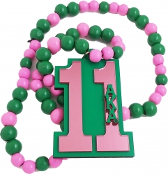 View Buying Options For The Alpha Kappa Alpha Line #11 Mirror Wood Color Bead Tiki Necklace