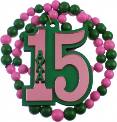 View Buying Options For The Alpha Kappa Alpha Line #15 Mirror Wood Color Bead Tiki Necklace