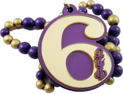 View Buying Options For The Omega Psi Phi Line #6 Mirror Wood Color Bead Tiki Necklace