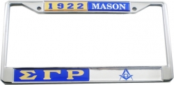 View Buying Options For The Sigma Gamma Rho + Mason Split License Plate Frame