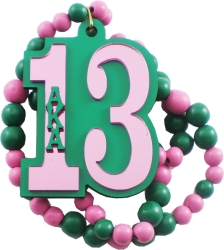 View Buying Options For The Alpha Kappa Alpha Line #13 Mirror Wood Color Bead Tiki Necklace