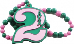 View Buying Options For The Alpha Kappa Alpha Line #2 Mirror Wood Color Bead Tiki Necklace
