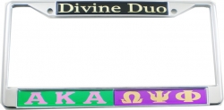 View Buying Options For The Alpha Kappa Alpha + Omega Psi Phi Divine Duo Split License Plate Frame