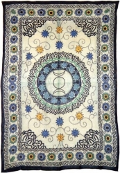 View Buying Options For The Floral Triple Moon Symbol Bedspread Or Wonderwall Cloth Tapestry