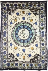View Buying Options For The Floral Triquetra Symbol Bedspread Or Wonderwall Cloth Tapestry