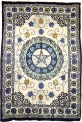 View Buying Options For The Floral Pentacle Symbol Bedspread Or Wonderwall Cloth Tapestry