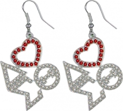 View Buying Options For The Delta Sigma Theta Ladies Crystal Heart Earrings