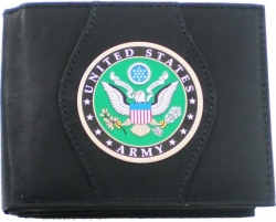 View Buying Options For The US Army Eagle Logo Round Metal Badge Mens Leather Wallet