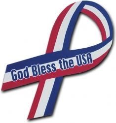 View Buying Options For The God Bless The USA Awareness Ribbon Car Magnet