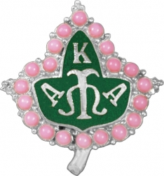 View Buying Options For The Alpha Kappa Alpha 3D Pink Pearl Ivy Leaf Lapel Pin