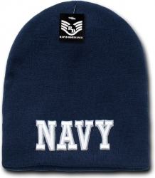 View Buying Options For The RapDom Navy Text Military Work Short Beanie Cap