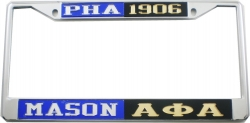 View Buying Options For The Mason PHA + Alpha Phi Alpha Split License Plate Frame