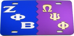 View Buying Options For The Zeta Phi Beta + Omega Psi Phi Split Mirror License Plate