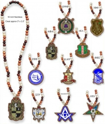 View Buying Options For The Greek Or Mason Wood Bead Tiki Crest Decal Necklace