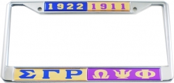 View Buying Options For The Sigma Gamma Rho + Omega Psi Phi Split License Plate Frame