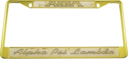 View Buying Options For The Alpha Psi Lambda Domed Script License Plate Frame