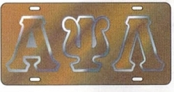 View Buying Options For The Alpha Psi Lambda Outlined Mirror License Plate