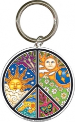 View Buying Options For The Celestial Peace Sign Metal Keyring